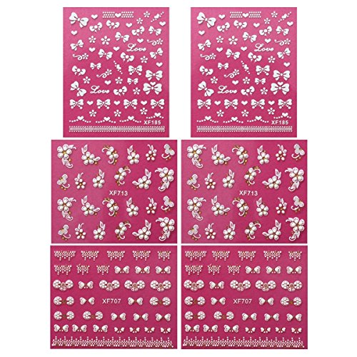 Wrapables A68853 Fingernail Stickers Nail Art Nail Stickers Self-Adhesive Nail Stickers 3D Nail Decals - Bows, Hearts and Flowers (3 designs/6 sheets) by Wrapables