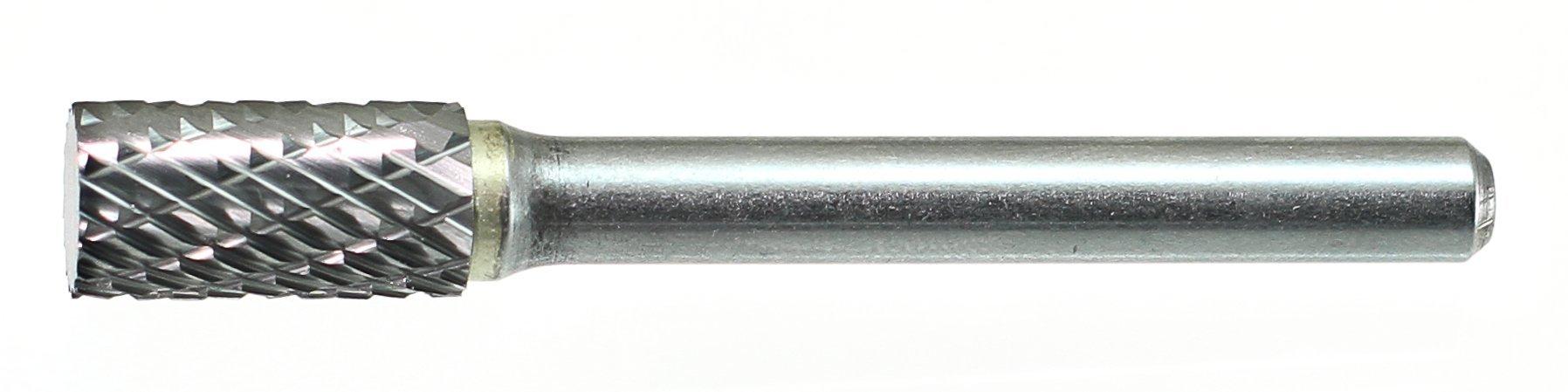 Drillco 7000A Series Magnum Solid Carbide Bur, Double Cut, Cylindrical Flat End, 1/4'' Shank Diameter, 3/8'' Head Diameter, 3/4'' Cutting Length (Pack of 1)