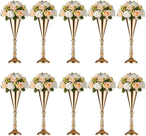 Sziqiqi Metal Trumpet Vase for Wedding Centerpieces Event Decoration Pack of 10, Rose Gold 16.5in