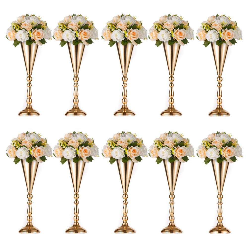 Base Decortion for Party L /× 10 Gold Flower Vase Stand Events Sziqiqi Set of 10 Tall Metal Wedding Centerpieces for Reception Tables Birthday Celebration Ceremonies