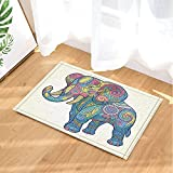 KOTOM Boho Bohemian Elephants Decor, Tribal Ethnic Pastel Elephant for Kids Bath Rugs, Non-Slip Doormat Floor Entryways Indoor Front Door Mat, Kids Bath Mat, 15.7x23.6in, Bathroom Accessories