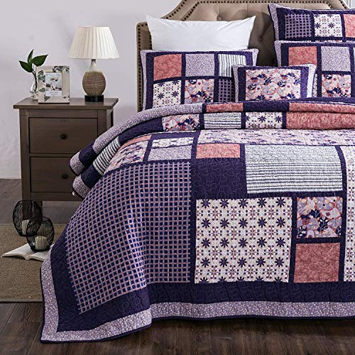 Collection Bedding Quilted (DaDa Bedding Patchwork Design Floral Bedspread - Cherry Blossom Quilted Coverlet Set - Bright Vibrant Plum Purple & Peach - King - 3-Pieces)