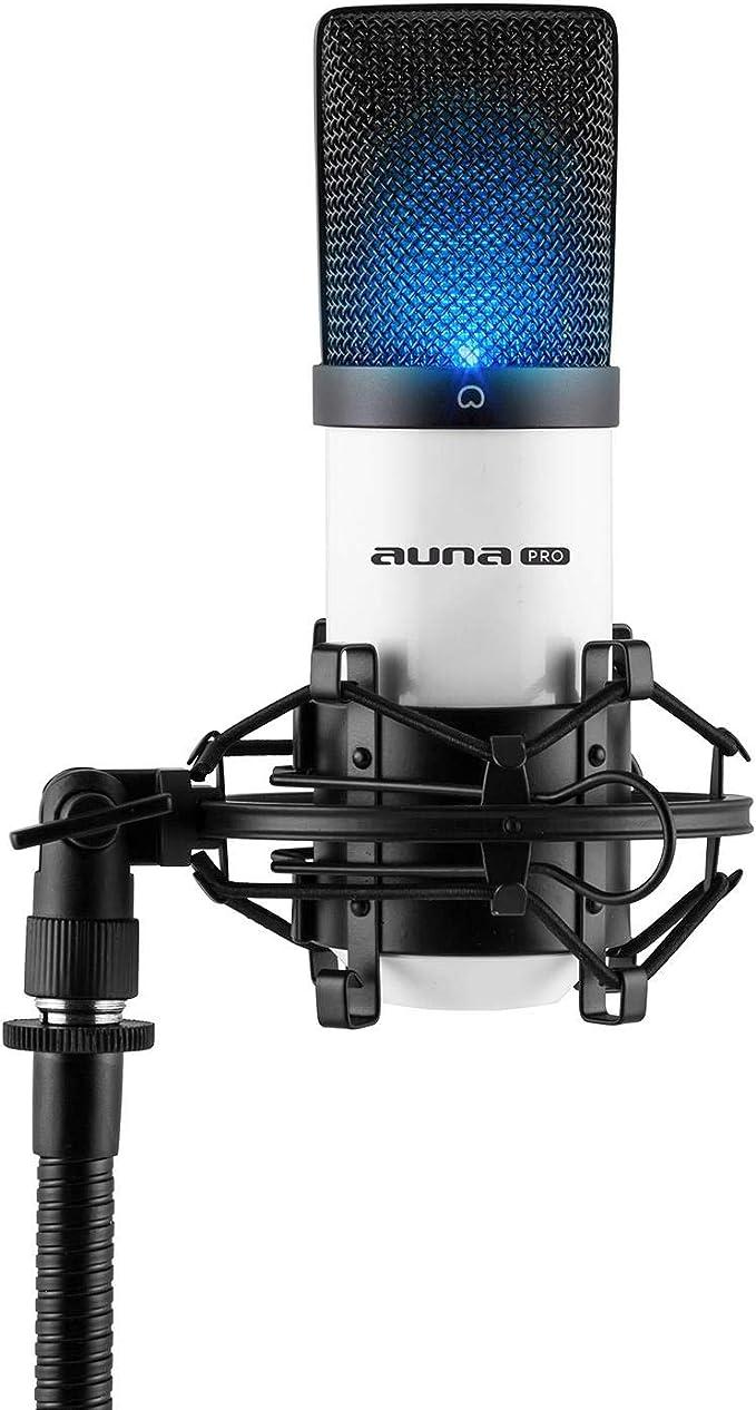 Auna Mic 900wh Led Usb Kondensator Mikrofon Im Metallgehäuse Mit Nierencharakteristik Inkl Mikrofonspinne Gewinde Adapter Und Schutztasche Weiß Musikinstrumente