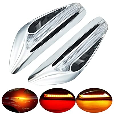 Blade Shape LED Side Marker Light Double Colors Driving Light White & Turn Signal Light Yellow/Amber Replacement Lights for BMW Buick motorcycle.2-Pack.White-Amber. (Red+Amber): Automotive