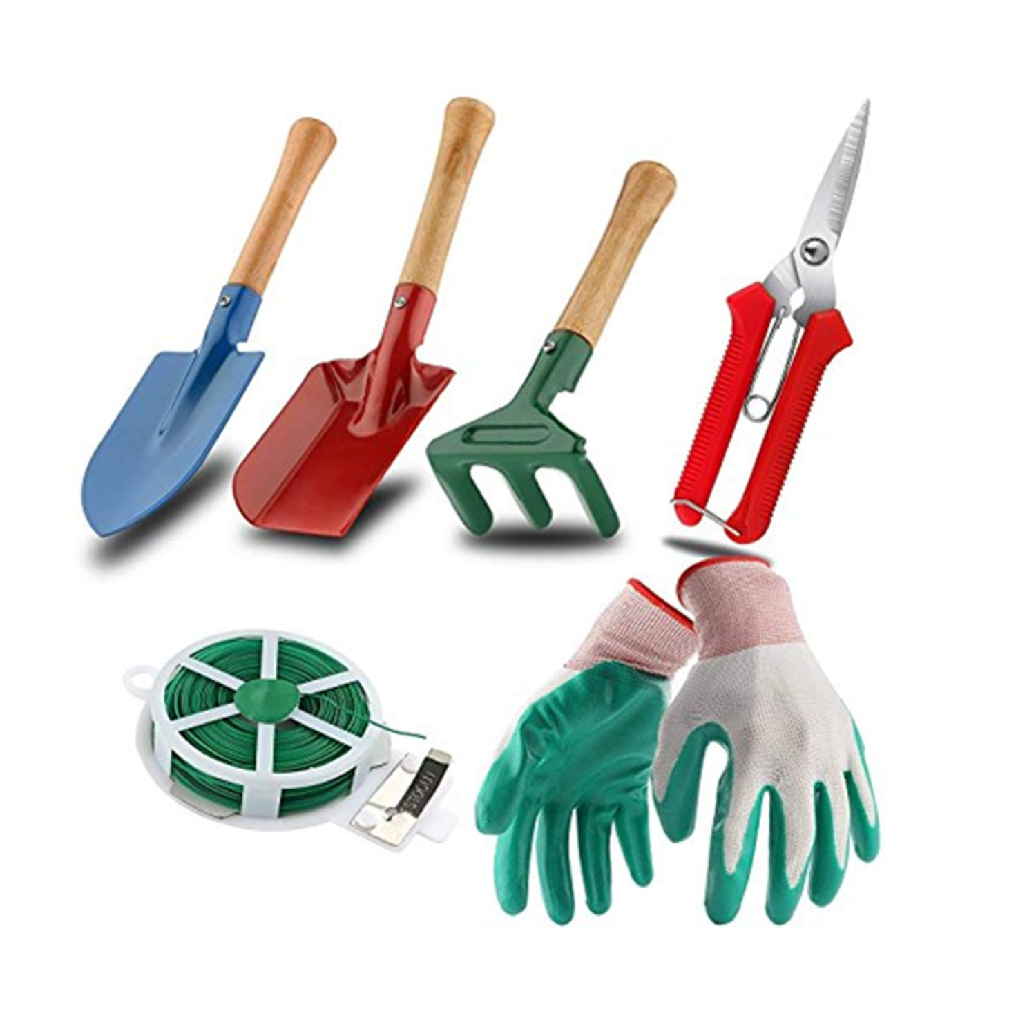 WINIT 7-Piece Garden Tool Set Include Triangle Shovel, Square Shovel, Hand Rake, Gloves, Plant Twist Tie and Pruner, Portable Bend-proof Gardening Tools (No Mat) by WINIT