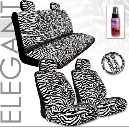 Brand New Yupbizauto Premium Grade Universal Size Zebra Print Front And Rear Seat Covers Set With Steering Wheel Cover Belt Purple