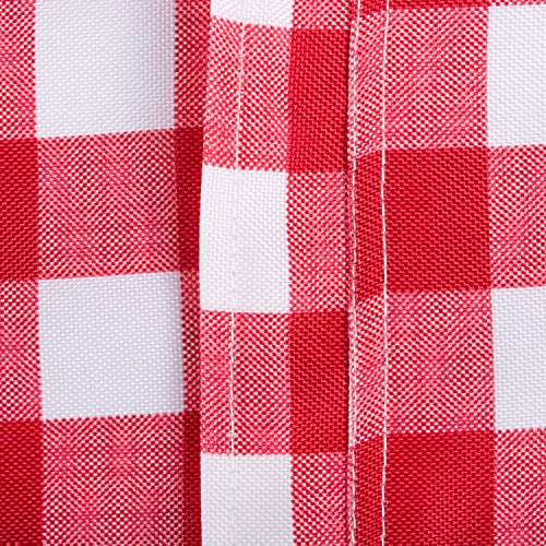 DII Spring & Summer Outdoor Tablecloth, Spill Proof and Waterproof with Zipper and Umbrella Hole, Host Backyard Parties, BBQs, & Family Gatherings - (60x120'' - Seats 10 to 12) Red Check by DII (Image #5)'