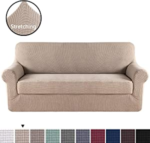 H.VERSAILTEX Stretch Slipcovers, Sofa Covers, Furniture Protector with Elastic Bottom, Anti-Slip Foams, 2 Pieces Couch Shield, Polyester Spandex Jacquard Fabric Small Checks(XL Sofa, Sand)