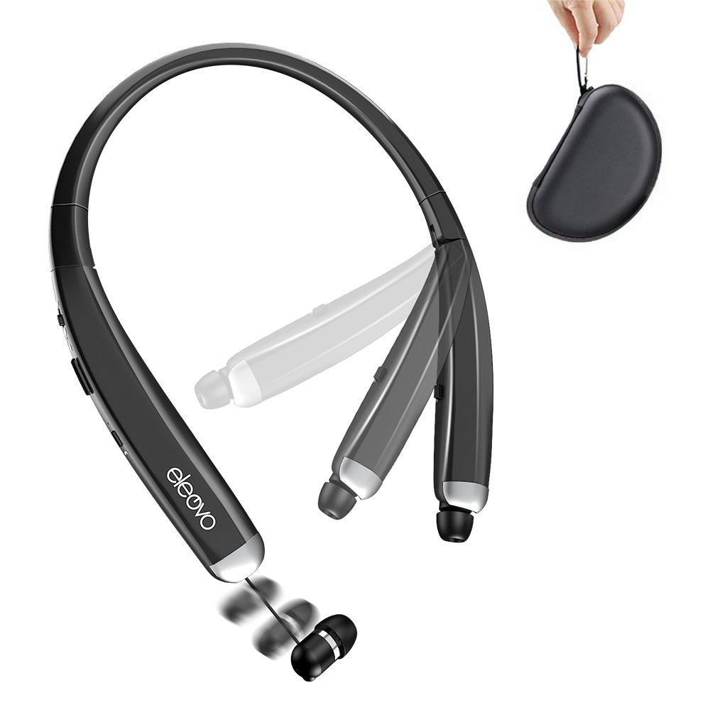 Eleovo Foldable Bluetooth Headphones Retractable Earbuds Neckband Headsets Build in Mic Noise Cancelling Earphones Call Vibrate Alert, Carrying Bag, for Cell Phone/Tablets/TV