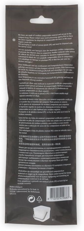 Brabantia 419683 Trash Bags, 1.6 Gallon, Green
