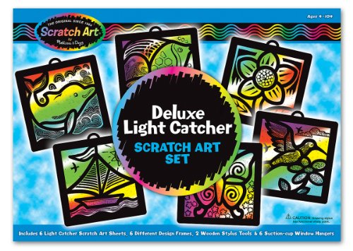 Melissa & Doug Deluxe Light Catcher Scratch Art Set - 6 Sheets, 6 Frames