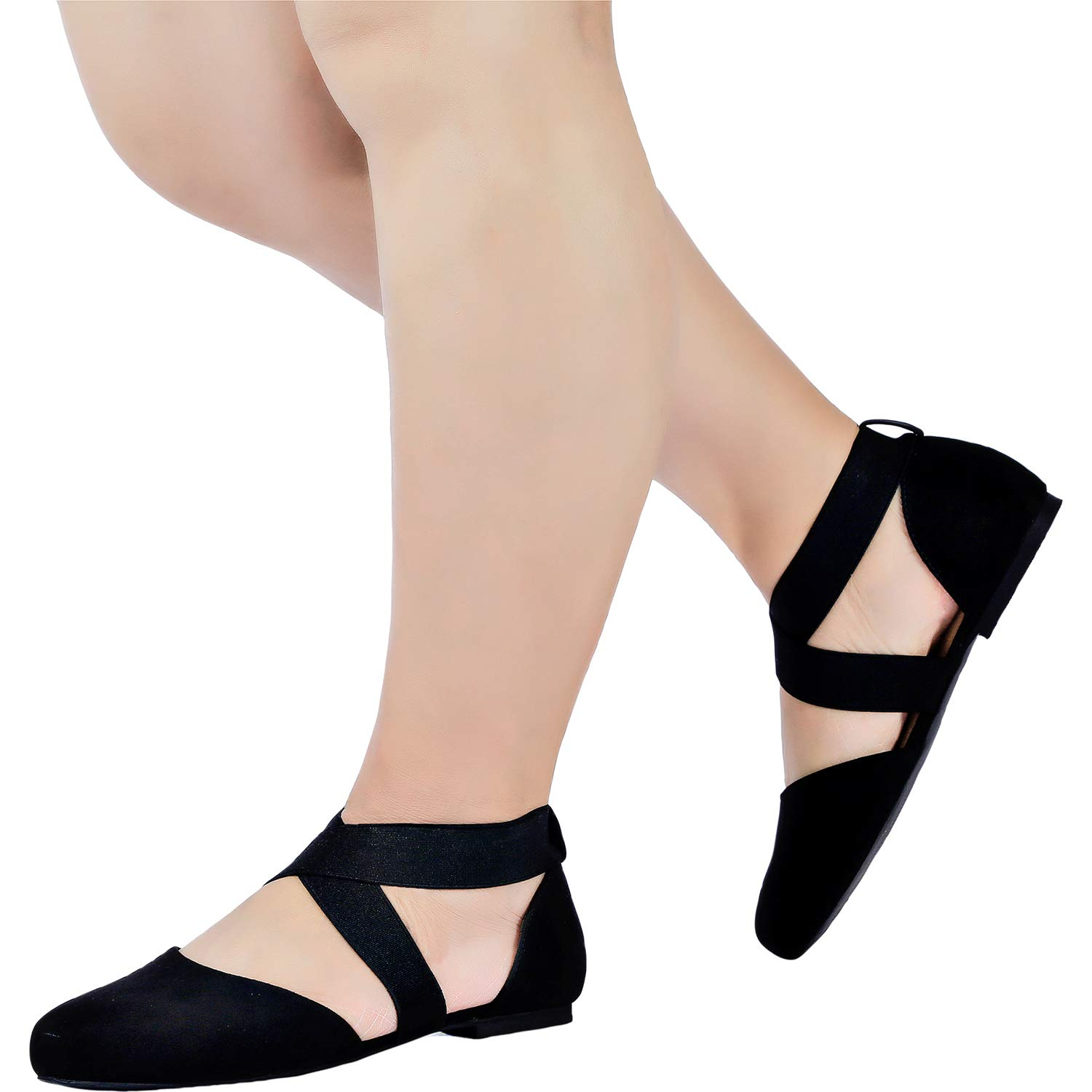 Retro Vintage Style Wide Shoes Womens Wide Width Flat Sandals - Elastic Cross Strap Pointy Toe Casual Summer Shoes. $25.99 AT vintagedancer.com