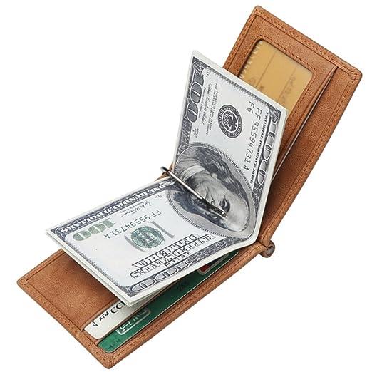 2ec97368af10 BISON DENIM Vintage Genuine Leather Wallet Front Pocket Wallets Slim  Minimalist Wallet Card Holder for Men Women