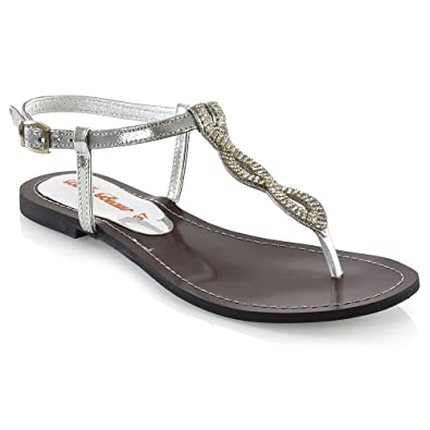 977e03138 ESSEX GLAM Womens Thong Flat Sandals Ladies Silver Slingback Strappy  Holiday Shoes 5 B(M