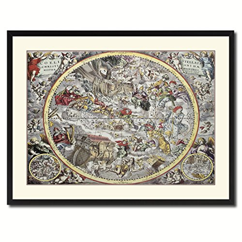 Christian Celestial Hemisphere Vintage Antique Map 36097 Canvas Print Picture Frame Home Decor Wall Art Livingroom Housewarming Gift Ideas 28''x37'' by SpotColorArt