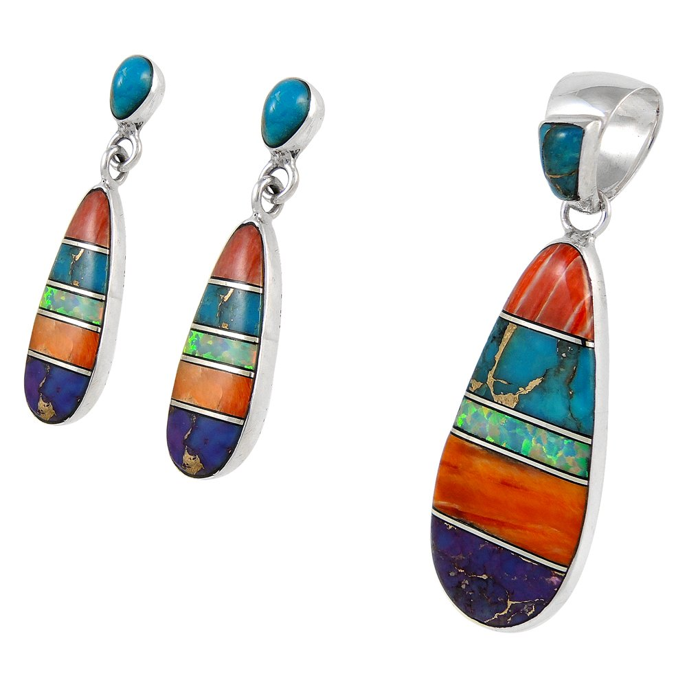 Matching Set Turquoise & Gemstone 925 Sterling Silver (Pendant, Earrings, Necklace 20'') Multi-C00 by Turquoise Network (Image #2)
