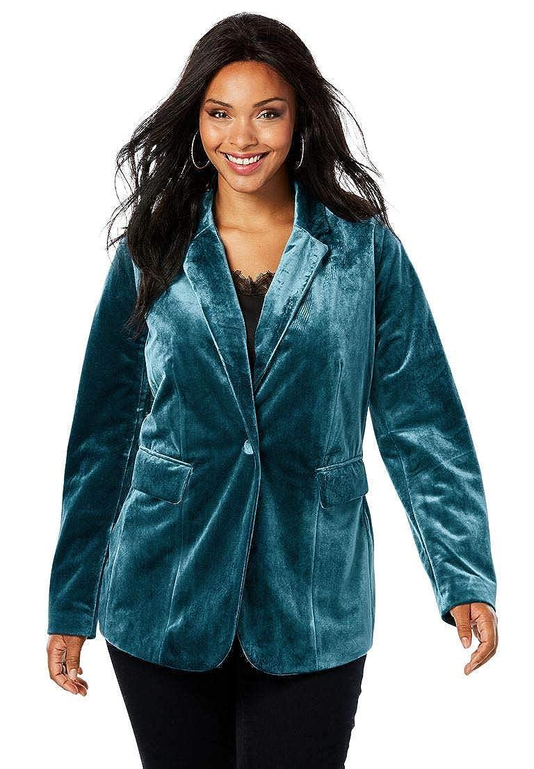 Roamans Women's Plus Size Velvet Blazer