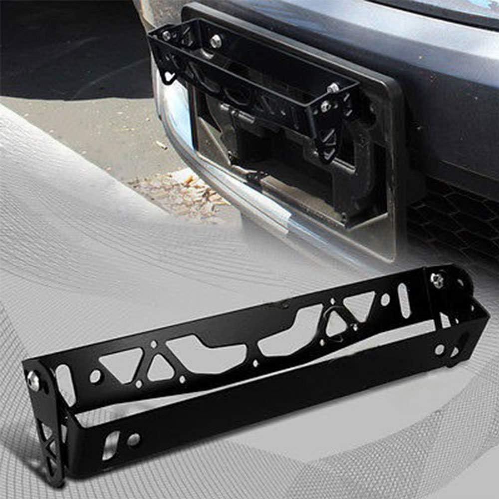 Black Hamanding Universal Black JDM Tilt Adjustable License Plate Relocation Adapter Bracket