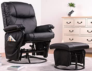 Excellent Amazon Com Merax Glider Recliner Chair With Ottoman Black Andrewgaddart Wooden Chair Designs For Living Room Andrewgaddartcom