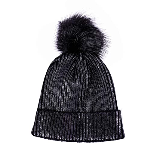 116436e2 Image Unavailable. Image not available for. Color: LIGICKY Winter Pom Pom  Beanie Hat Metallic Color Shiny Warm Knitted Women Cap