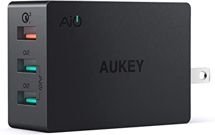 AUKEY USB Wall Charger Quick Charge 3.0, 43.5W USB Charger with Foldable Plug, Charger Block Compatible with iPhone 1111 ProMax, Samsung Galaxy