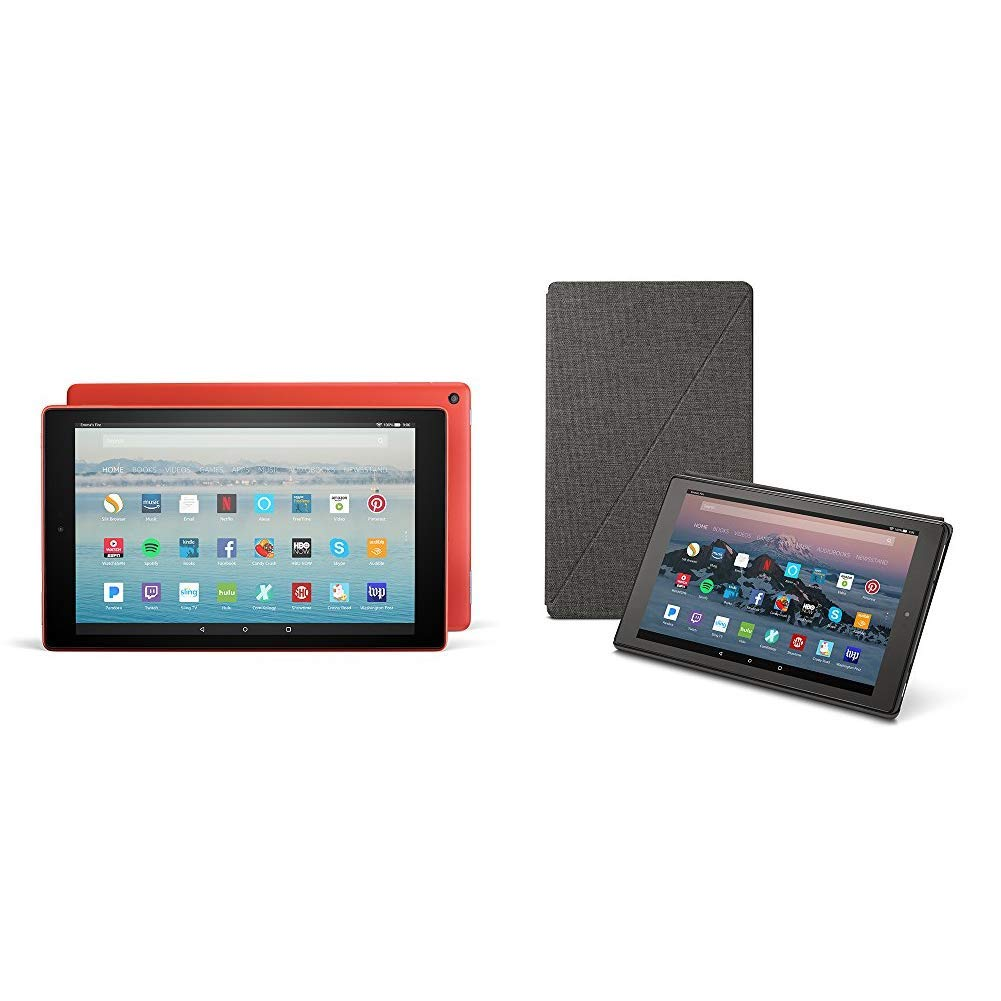 Fire HD 10 Tablet (32 GB, Marine Blue, With Special Offers) +  Standing Case (Charcoal Black)