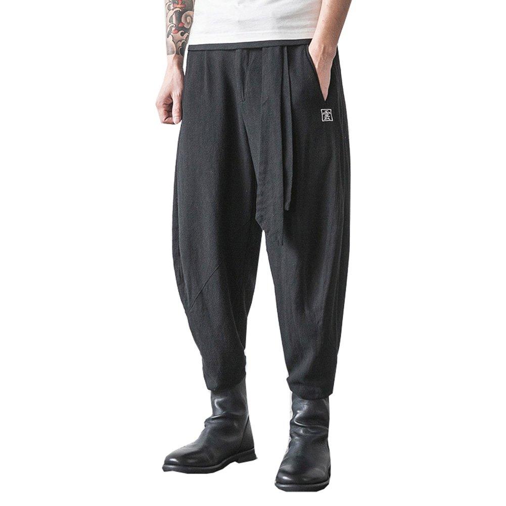 Casual Cotton Linen Mens Harem Baggy Pants Japanese Loose Style Boho Trousers