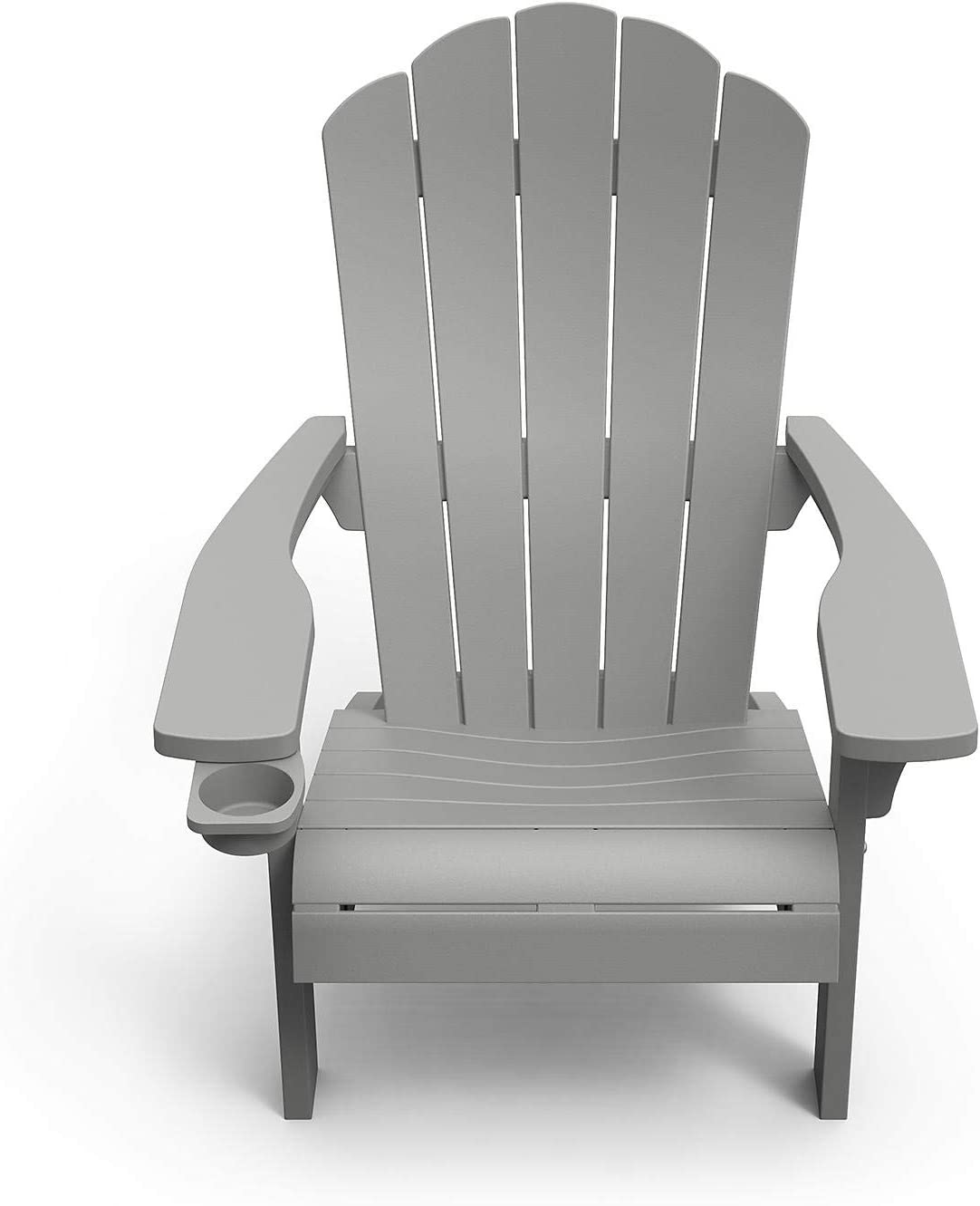 Outdoor Patio Garden Deck Furniture Resin Adirondack Chair with Built-in Cup Holder (Grey)