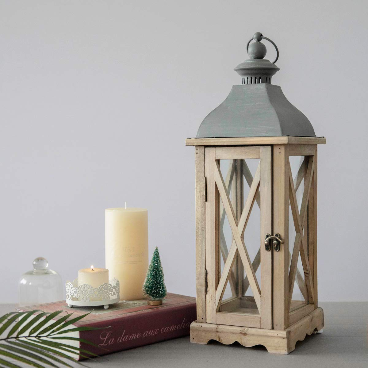 S.H. 6'' x 6'' x 20'' Wood Wooden Decorative Candle Lantern Vintage Rustic Large Hanging Candle Holder for Indoor Outdoor Use