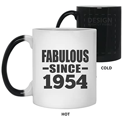 Birthday Gift Idea 65th Fabulous Since 1954 11 Oz Color Changing Mug Heat Sensitive