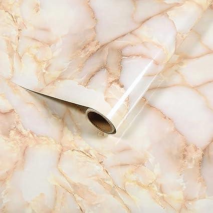Bestevers Light Yellow Marble Self Adhesive Gloss Vinyl Wrap Film Kitchen  Countertop Peel Stick Wallpaper Decal