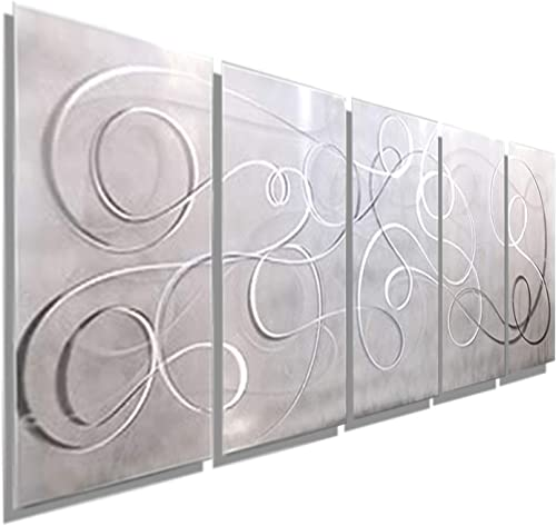 Modern White Silver Metal Wall Art – Panel Art, Wall Accent Decor – Contemporary Decor for Home or Office – Large Wall Hanging – Abstract Painting Sculpture – Silent Echoes – 64 x 24