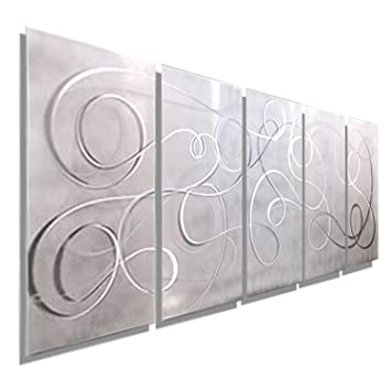 Modern White Silver Metal Wall Art Panel Art Wall Accent Decor Contemporary Decor For Home Or Office Large Wall Hanging Abstract Painting