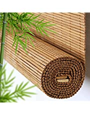 Roller Blind Natural Bamboo Roller Shades,Sunshades Light Filtering Roll Up Blinds,Indoor Outdoor Roman Shutters,Decoration Curtain for Windows Doors,with Lift,Customizable (W:60xH:140cm/24x55in)