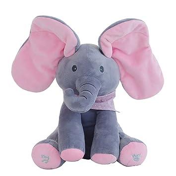 Ularma Elefante Peluche Peluche Canto Rellenos Animados Animales Bebé Juguete Niños Muñeca Regalo (Gris &