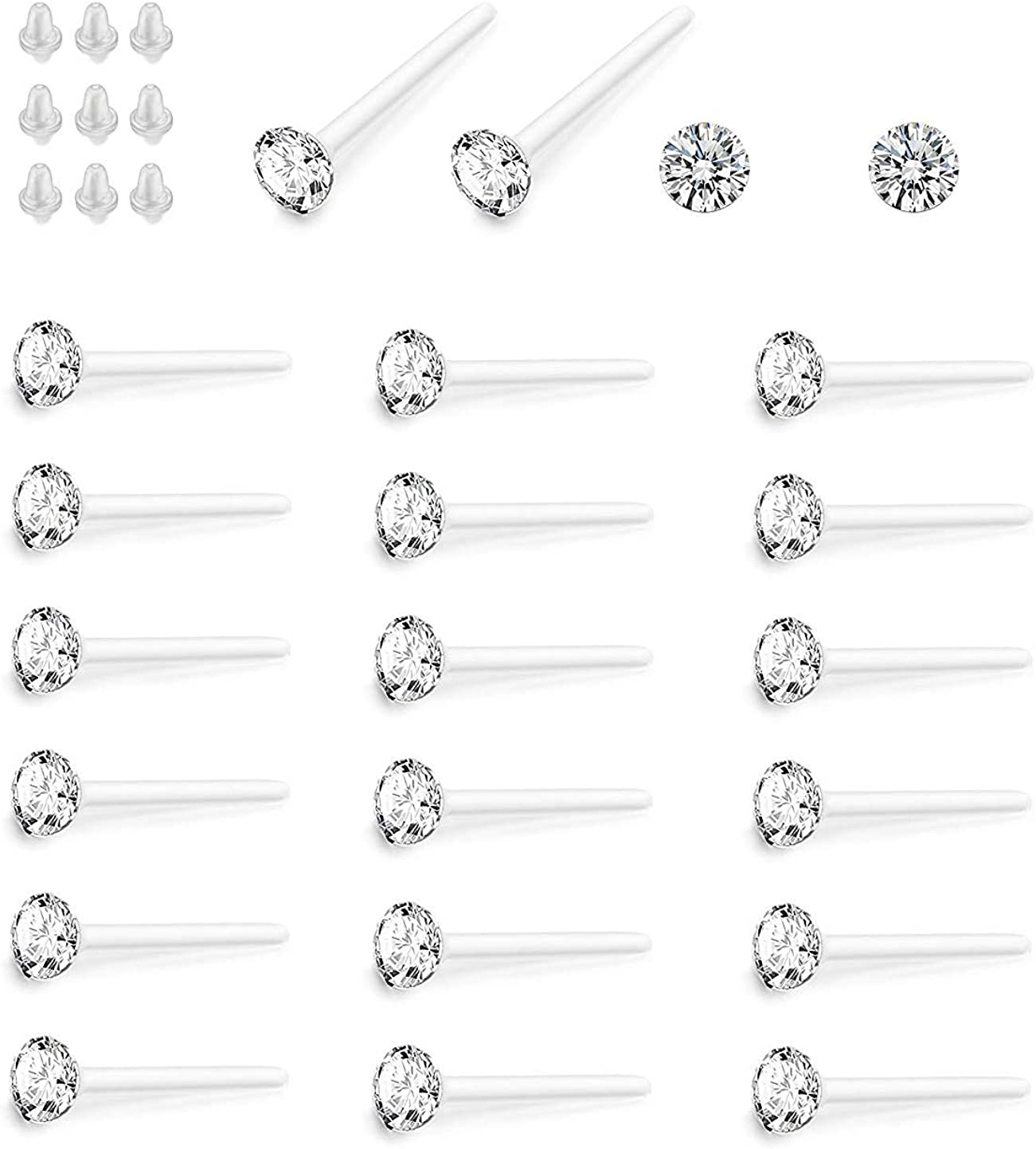 Hanpabum 36 Pairs 2.5MM Crystal HypoallergenicStud Earrings Set Made with Acrylic Post for Men Women (B:White)