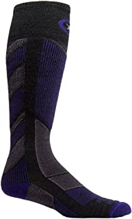 product image for Farm to Feet Women's Park City Midweight Ski Socks, Charcoal/Parachute Purple, Small