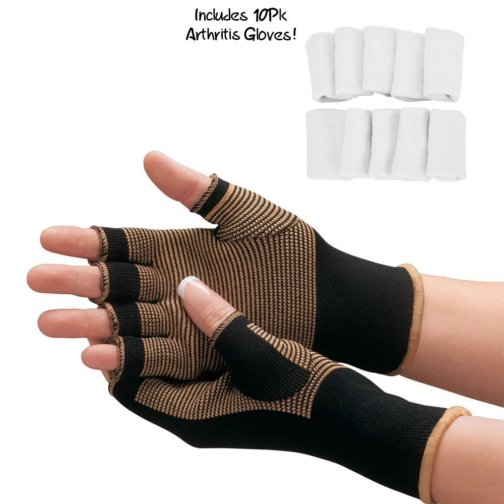 Copper Compression Arthritis Gloves - #1 Best Copper Infused Fit Glove For Carpal Tunnel, Computer Typing, And Everyday Support For Hands And Joints (1 PAIR + BONUS Arthritis Finger Sleeves)