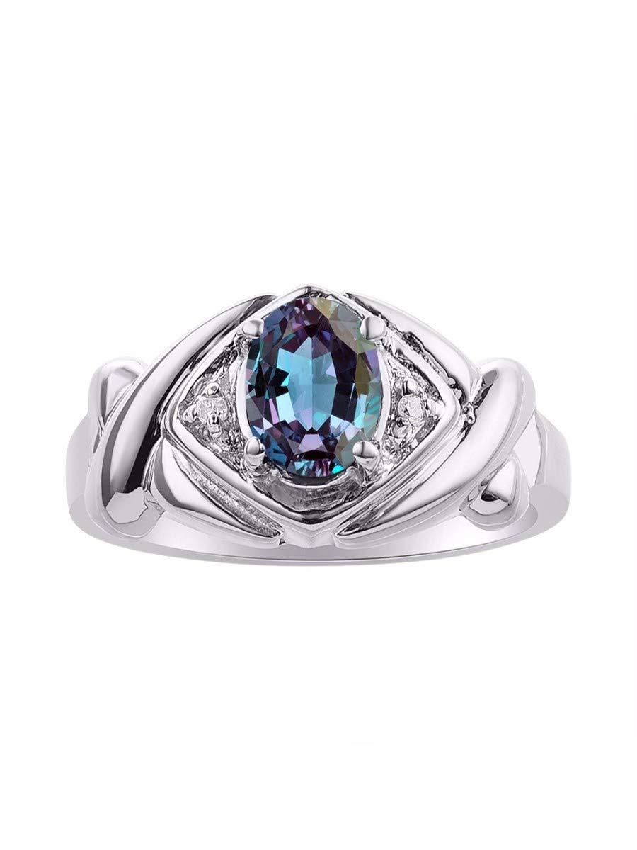 Diamond & Simulated Alexandrite Ring Set In Sterling Silver - XOXO Hugs & Kisses Design