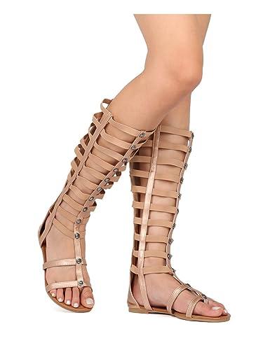 e97f25e2be Indulge Athena-1 Women Knee High Strappy Flat Gladiator Sandal HC80 - Rose  Gold Metallic