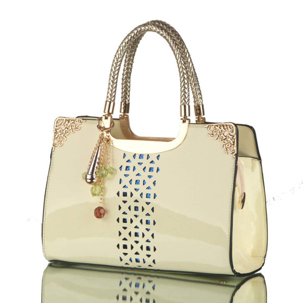NJ Handtasche- Frauen Tasche Hohlen Lackleder Lackleder Lackleder Tasche Mode Handtasche Wilden Schulter Umhängetasche 5 Farben (29  20  9 cm) (Farbe   Beige, größe   29x20x9cm) B07K2XLKBX Schultertaschen Schöne Farbe d3e5d6