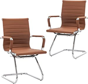 DM Furniture Heavy Duty Office Chair Reception Chairs Leather Conference Chairs Back Support Guest Chair, Set of 2 (Coffee)