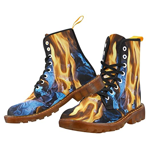 Shoes Fire Flame Lace Up Martin Boots For Men