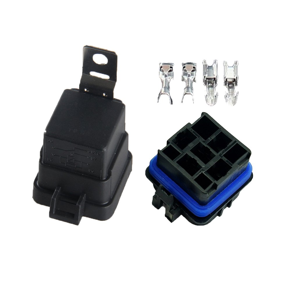 Boladge Universal Waterproof Integrated DC 12V 40A 5pin Wired Vehicle Relay Socket with Relay Holder DC12V 5-Pin