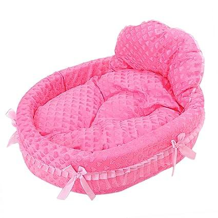 Princesa de encaje Cama para perro Perrito Sofá Casa de mascotas (Rosa roja, S