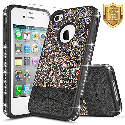 NageBee for iPhone 4/4S Case with [Screen Protector HD Clear] Shiny Diamond Glitter Bling Crystal Super Slim Protective Soft Shell TPU Leather Hybrid Cute Case for Apple iPhone 4/4S (Black)