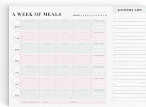 Weekly Meal Planner Notepad with Perforated Grocery List, Food Planning Menu Organizer and Shopping List Pad, 60 Tear-Off Sheets, 8 in by 11 in, Blush Pink and Turquoise Teal Elegant Simple Design