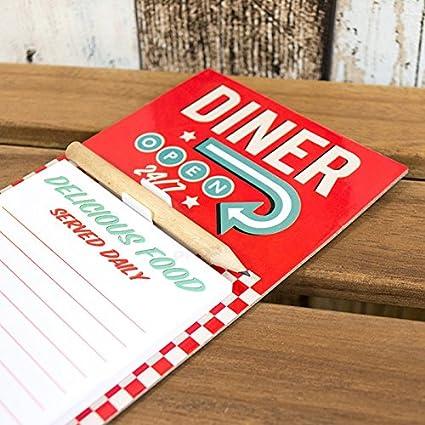 Diner abierto 2/47 magnético Memo Pad con lápiz, rosso: Amazon.es ...