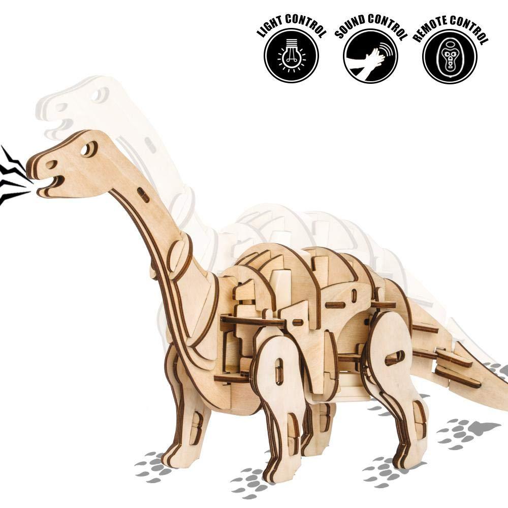 Fernbedienungs Spielzeug 3D-Brontosaurus, Sprachsteuerung, Lichtsteuerung, Lichtsteuerung, Lichtsteuerung, Fernbedienung Tierholz Modell Puzzle-Modell Kit 320  235  59Mm 9a314f