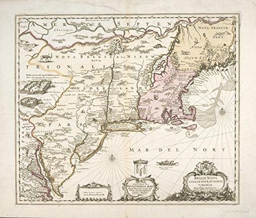 Historic 169-? Map   Belgii novi, angliae novae, et partis Virginiae : novissima deli   Antique Vintage Map Reproduction